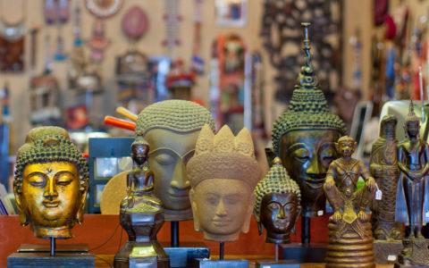 Boeddhahoofden brons, steen - Laos, Thailand