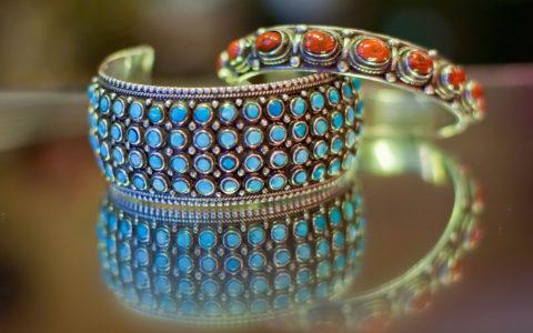 Armbanden turquoise / koraal - Nepal