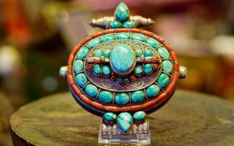 Doos amulet turquoise  - Tibet