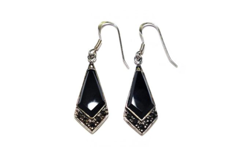 Earrings Silver Marcasiet with Onyx